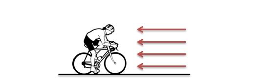 Cycliste face à la force résistante de l'air