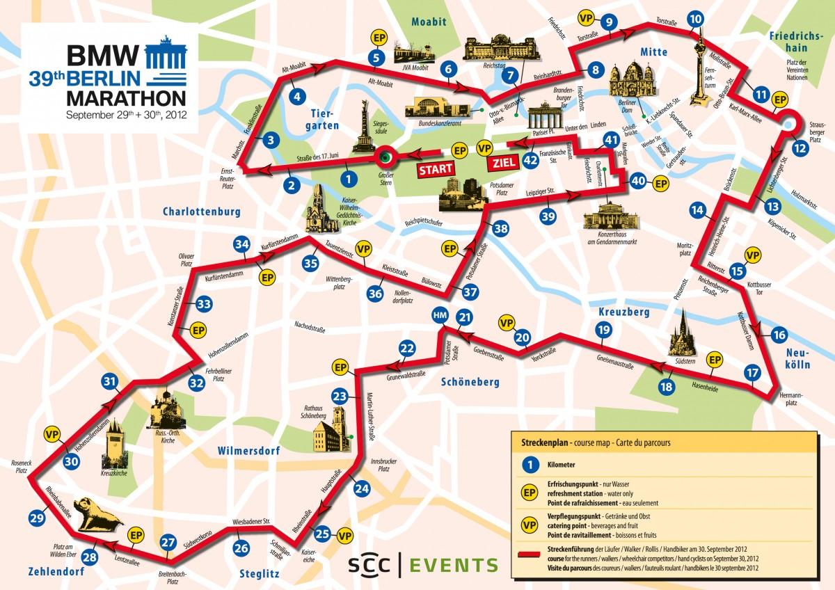 Parcours marathon de Berlin 2012