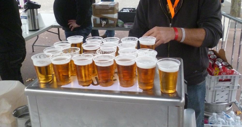 Biere arrivee course velo
